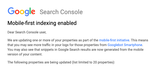Screenshot of Google Search Console: Mobile-first indexing enabled